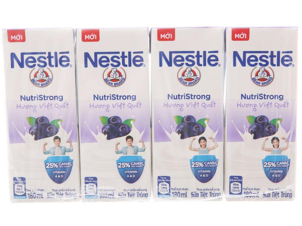 Lốc 4 hộp sữa tiệt trùng hương việt quất Nestlé NutriStrong 180ml 2