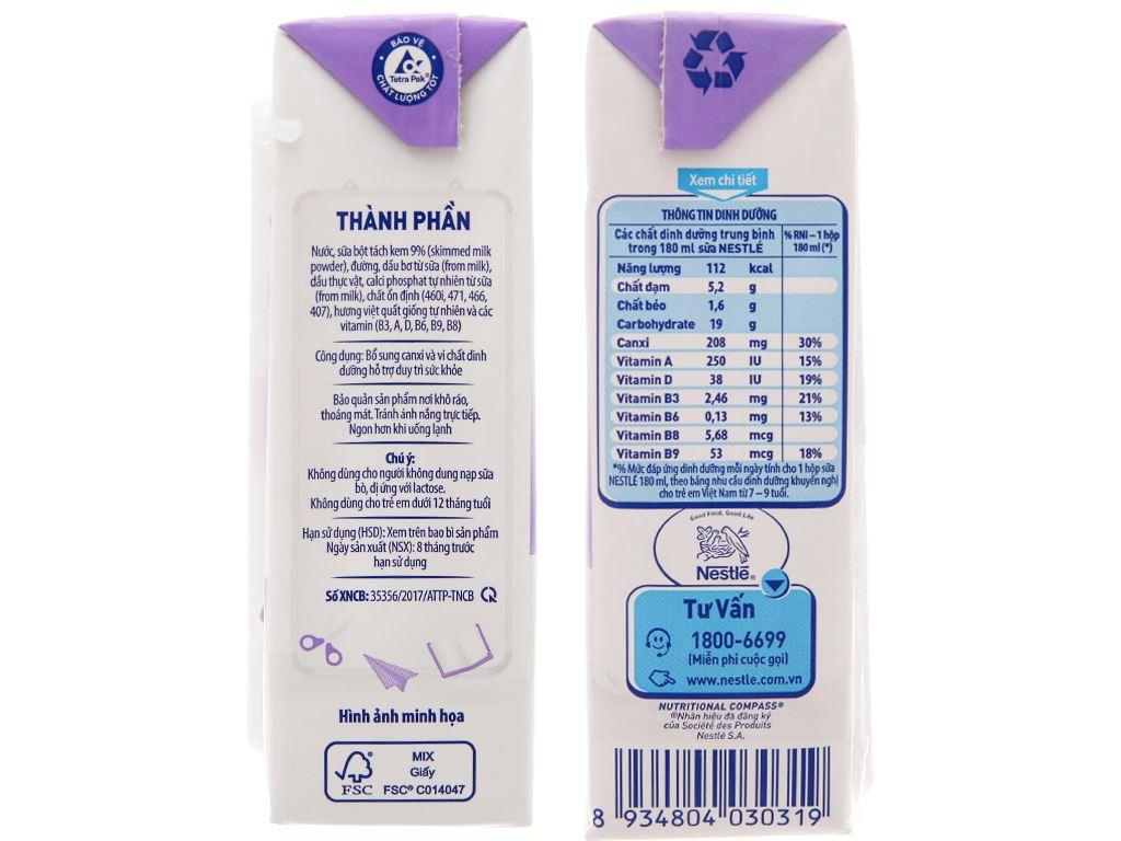 Lốc 4 hộp sữa tiệt trùng hương việt quất Nestlé NutriStrong 180ml 5