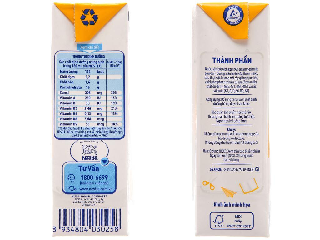 Sữa tiệt trùng Nestlé hương trái cây hộp 180ml 5