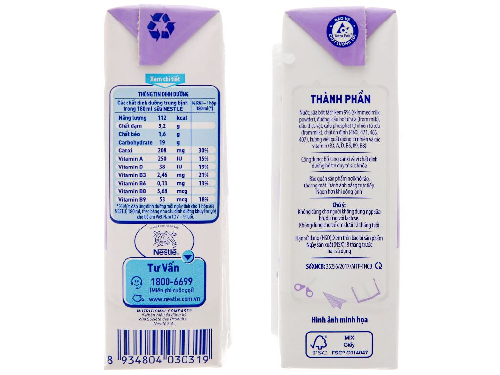 Sữa tiệt trùng hương việt quất Nestlé hộp 180ml 5