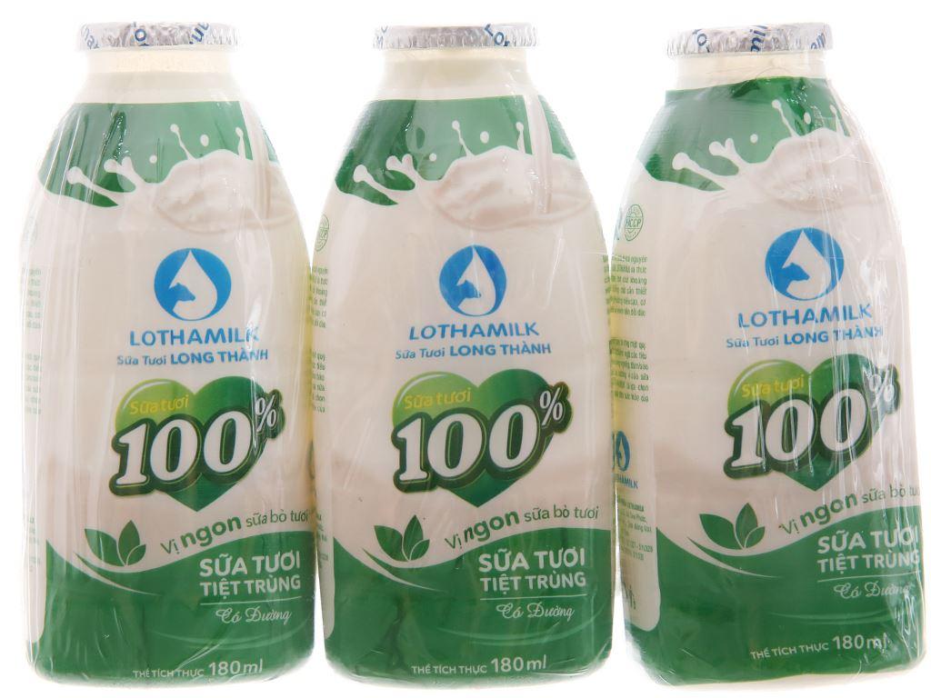 Lốc 3 chai sữa tươi tiệt trùng Lothamilk có đường 180ml 2