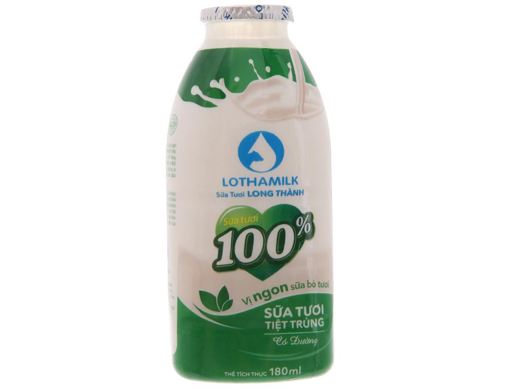 Thùng 36 chai sữa tươi tiệt trùng Lothamilk có đường 180ml 3