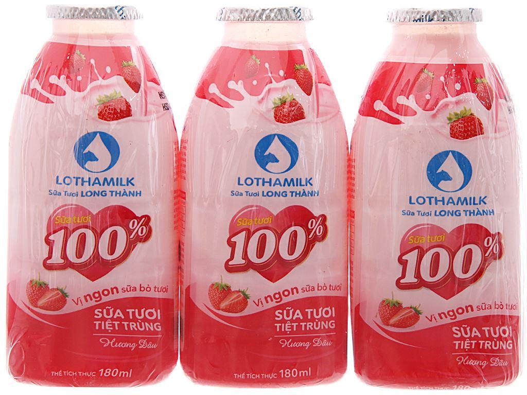 Lốc 3 chai sữa tươi tiệt trùng Lothamilk hương dâu 180ml 2