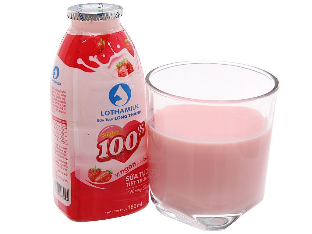 Thùng 36 chai sữa tươi tiệt trùng hương dâu Lothamilk 180ml 3