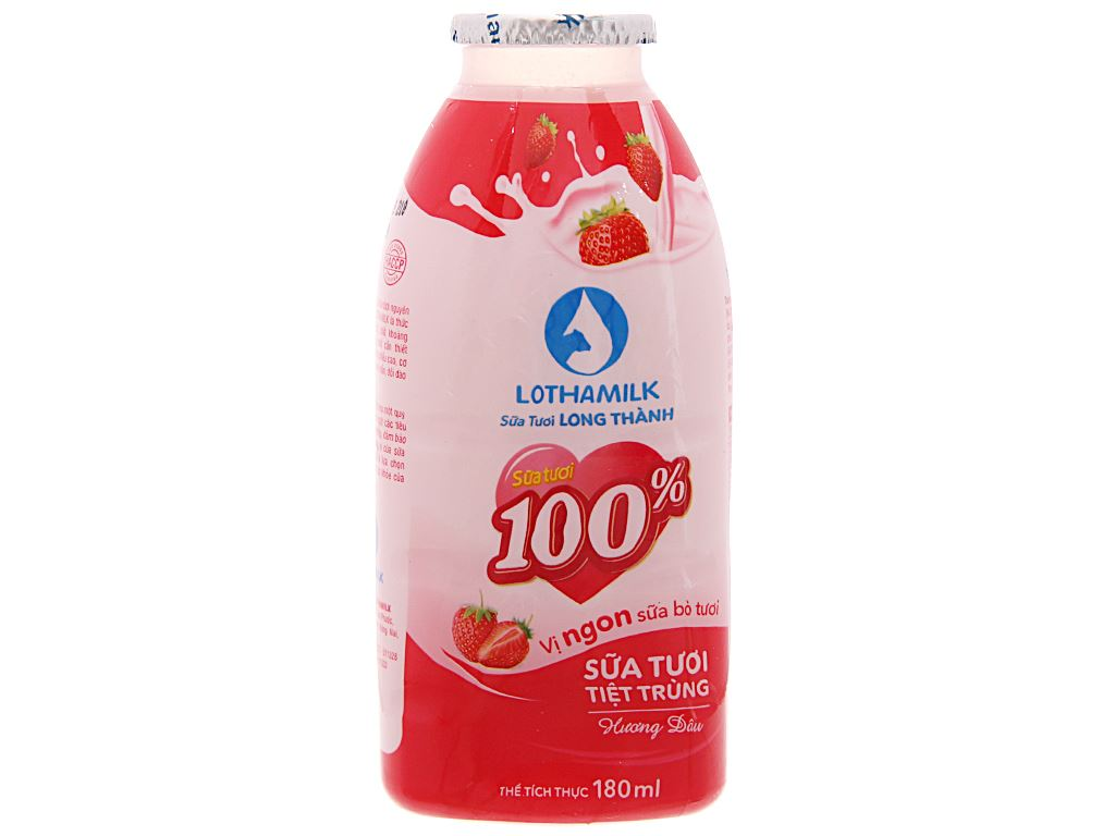 Thùng 36 chai sữa tươi tiệt trùng hương dâu Lothamilk 180ml 4