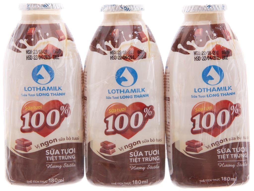 Lốc 3 chai sữa tươi tiệt trùng Lothamilk sô cô la 180ml 2
