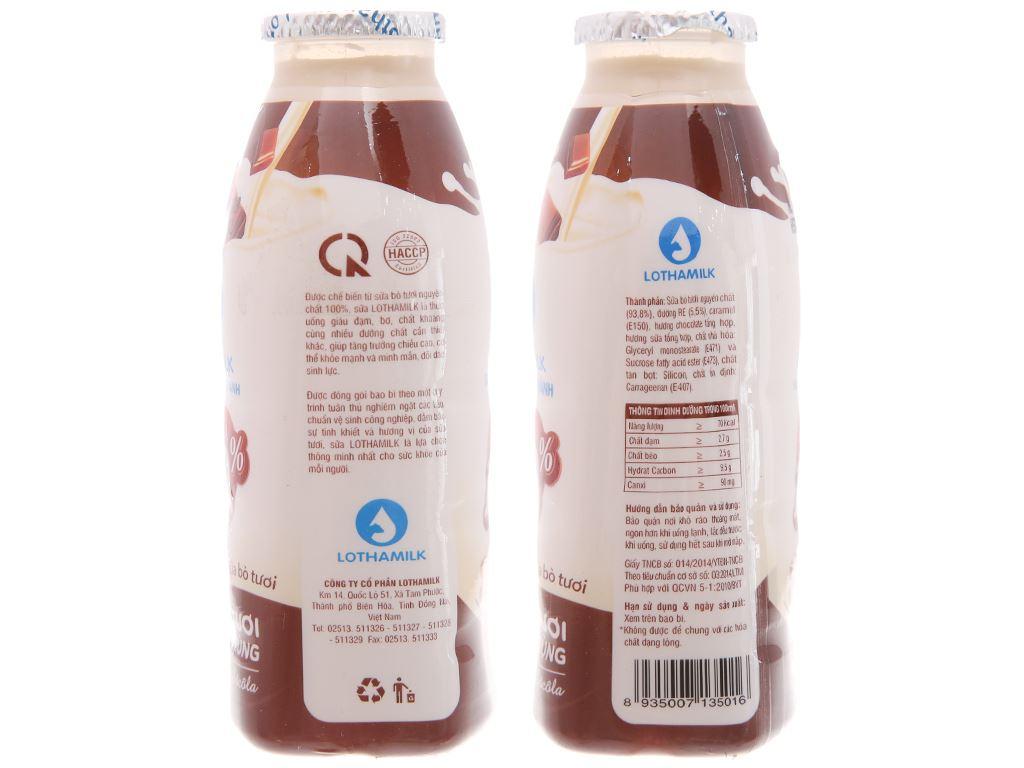 Lốc 3 chai sữa tươi tiệt trùng Lothamilk sô cô la 180ml 5