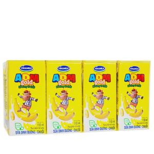 Lốc 4 hộp sữa dinh dưỡng Vinamilk ADM Gold hương chuối 110ml