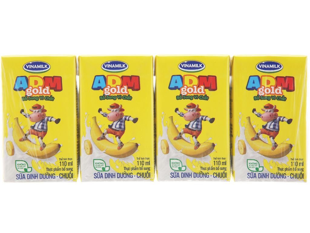 Lốc 4 hộp sữa dinh dưỡng Vinamilk ADM Gold hương chuối 110ml 2