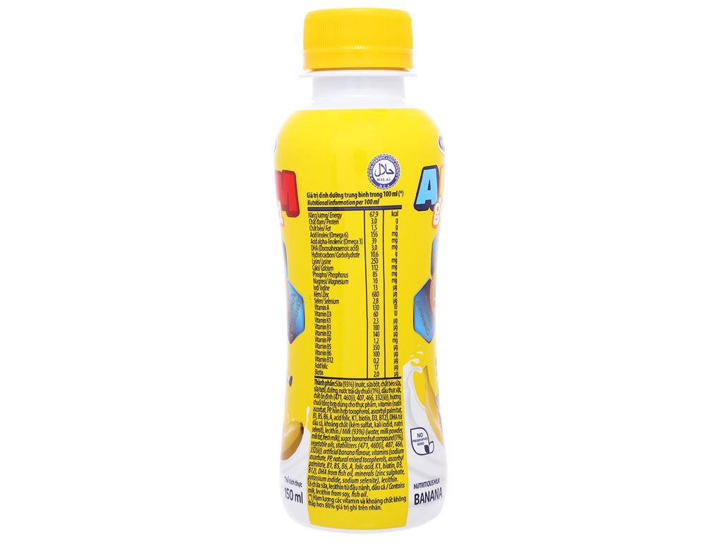 Lốc 4 chai sữa dinh dưỡng Vinamilk ADM Gold hương chuối chai 150ml 3