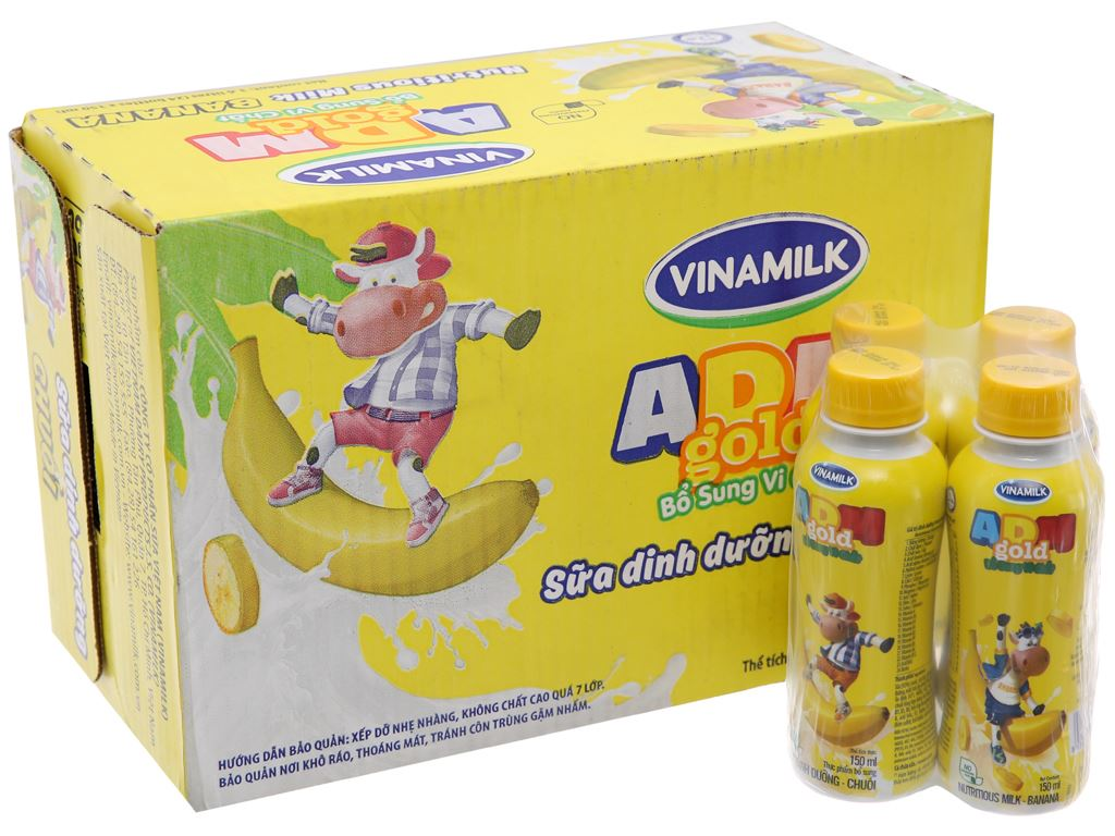 Thùng 24 chai sữa dinh dưỡng Vinamilk ADM Gold hương chuối 150ml 2