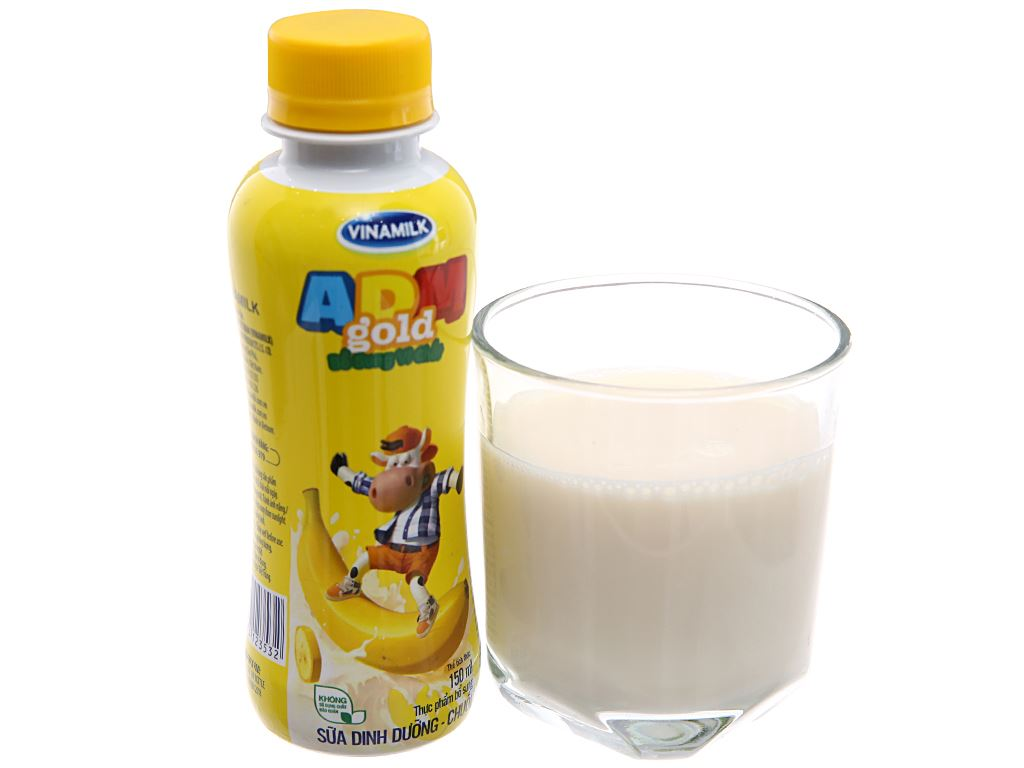 Thùng 24 chai sữa dinh dưỡng Vinamilk ADM Gold hương chuối 150ml 3