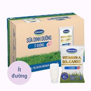 Thùng 48 bịch sữa dinh dưỡng ít đường Vinamilk 220ml