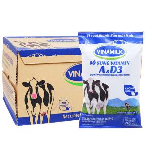 Thùng 48 bịch sữa dinh dưỡng Vinamilk ít đường 220ml