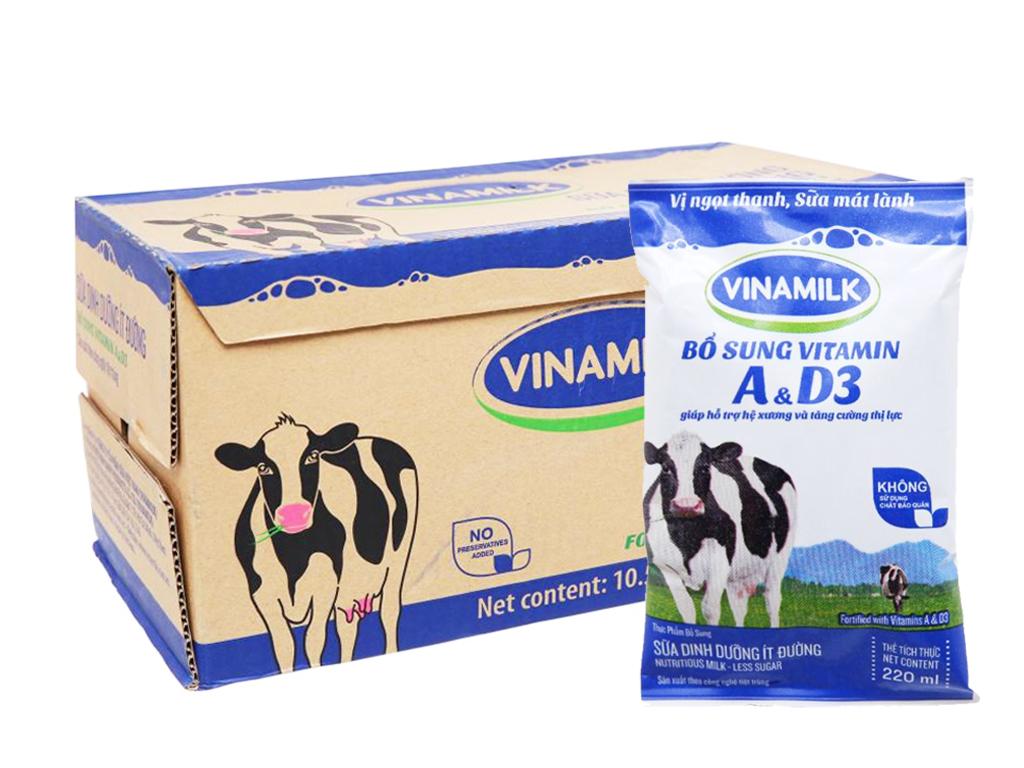 Thùng 48 bịch sữa dinh dưỡng Vinamilk ít đường 220ml 1