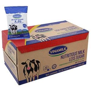 Thùng sữa dinh dưỡng Vinamilk Ít đường bịch 220ml (48 bịch)