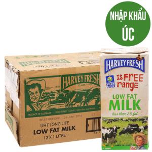 Thùng 12 hộp sữa tươi tiệt trùng Harvey Fresh ít béo 1 lít