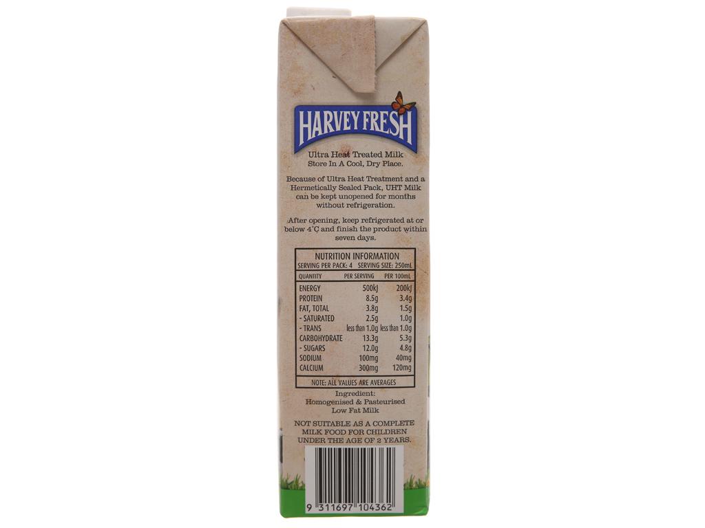 Thùng 12 hộp sữa tươi tiệt trùng ít béo Harvey Fresh 1 lít 4