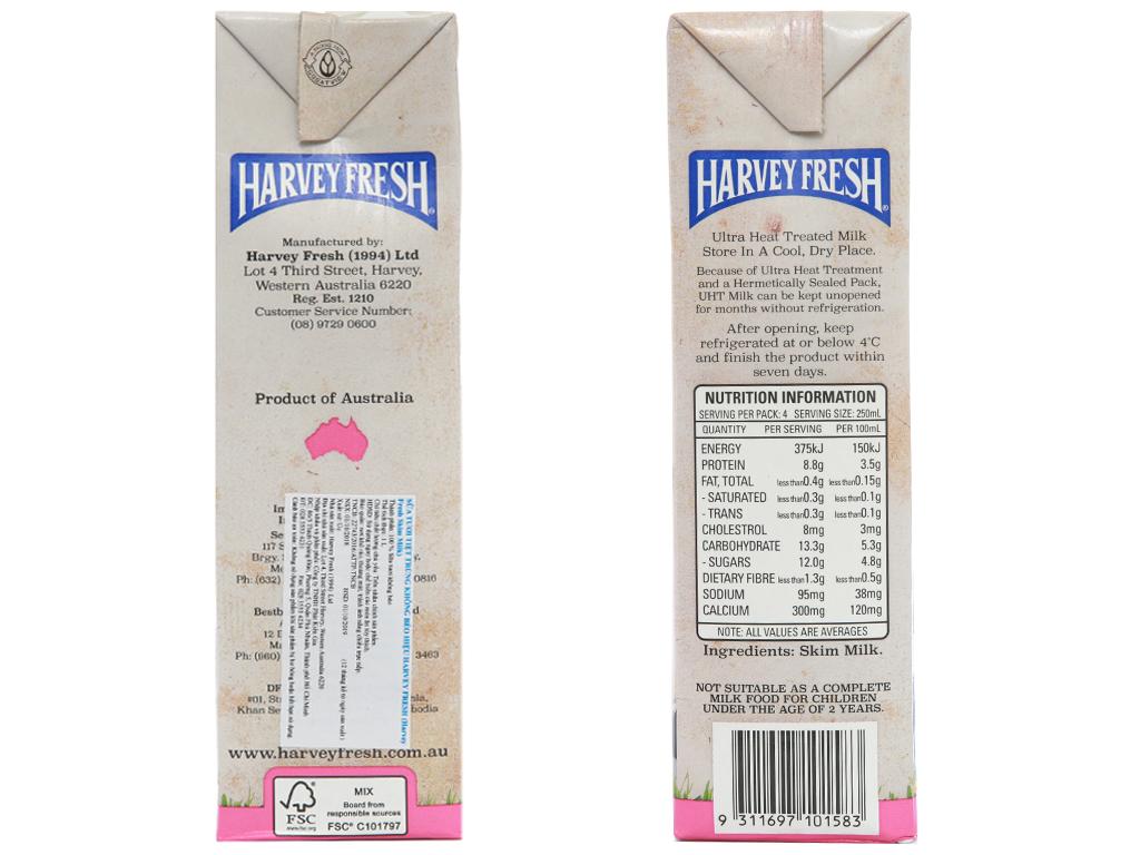Thùng 12 hộp sữa tươi tiệt trùng Harvey Fresh Skim Milk tách béo 1 lít 4