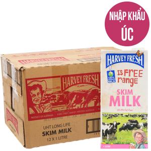 Thùng 12 hộp sữa tươi tiệt trùng Harvey Fresh Skim Milk tách béo 1 lít