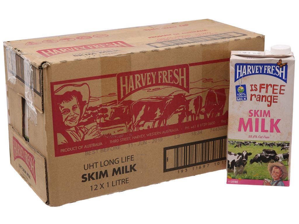 Thùng 12 hộp sữa tươi tiệt trùng Harvey Fresh Skim Milk tách béo 1 lít 1