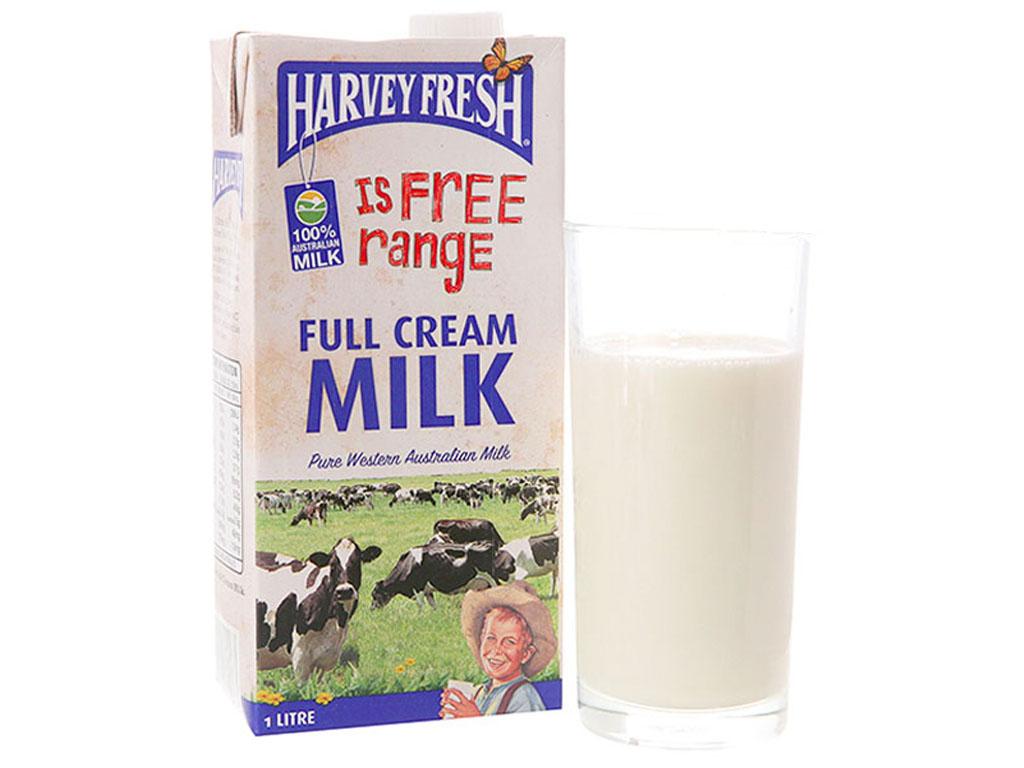 Thùng 12 hộp sữa tươi nguyên kem không đường Harvey Fresh 1 lít 3