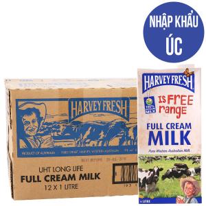 Thùng 12 hộp sữa tươi tiệt trùng Harvey Fresh nguyên kem 1 lít