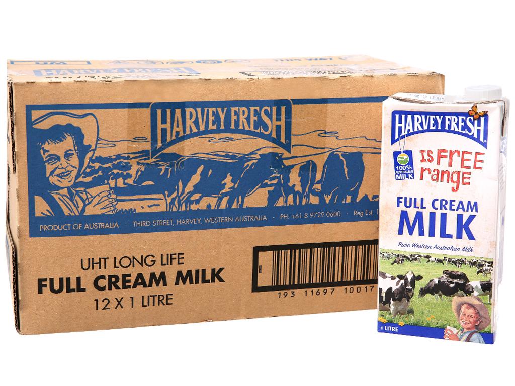 Thùng 12 hộp sữa tươi nguyên kem không đường Harvey Fresh 1 lít 2