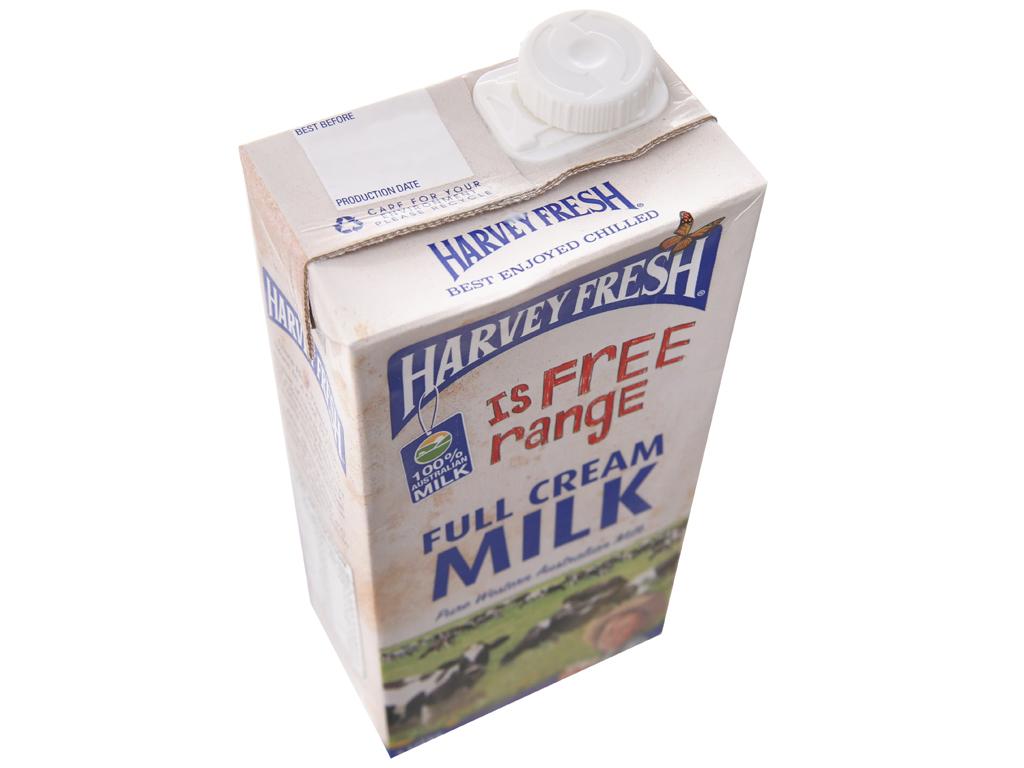 Thùng 12 hộp sữa tươi nguyên kem không đường Harvey Fresh 1 lít 4