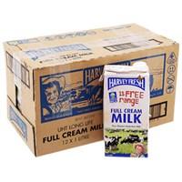 Thùng sữa tươi tiệt trùng Harvey Fresh Nguyên kem hộp 1lít (12 hộp)