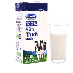 Sữa tươi tiệt trùng Vinamilk 100% Sữa Tươi ít đường hộp 1 lít