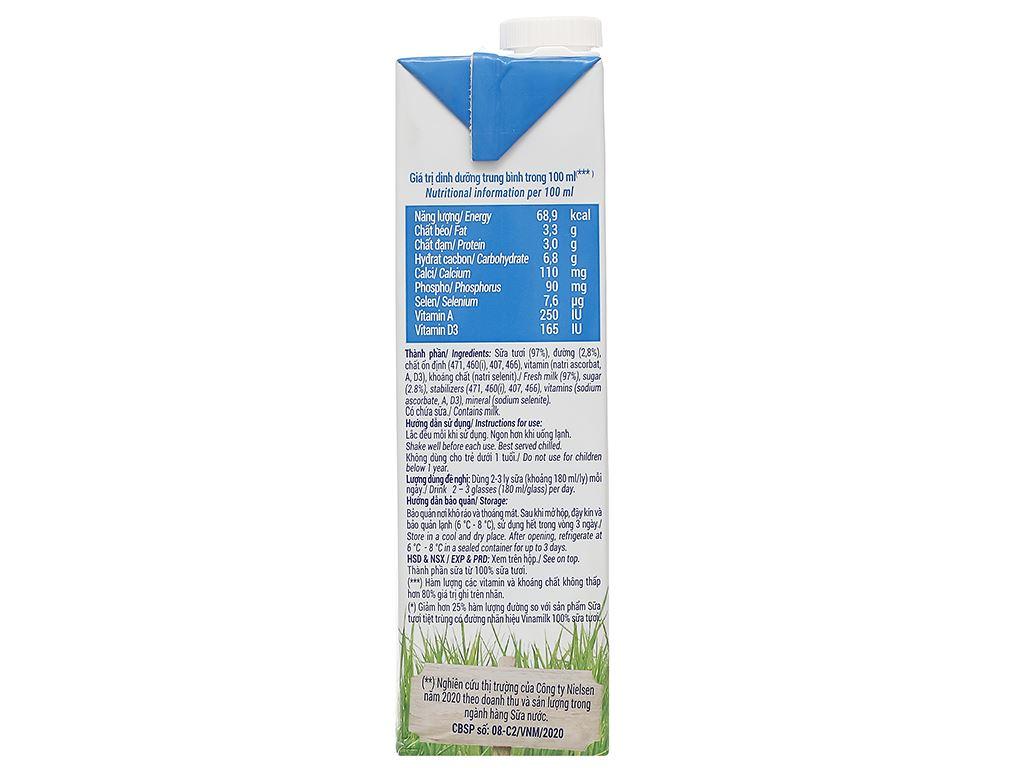 Sữa tươi ít đường Vinamilk 100% Sữa Tươi hộp 1 lít 3