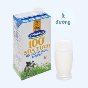 Sữa tươi ít đường Vinamilk 100% Sữa Tươi hộp 1 lít