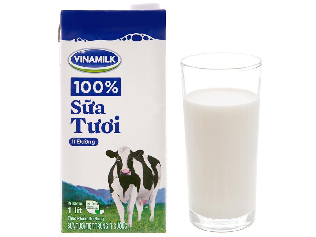 Sữa tươi tiệt trùng Vinamilk 100% Sữa Tươi ít đường hộp 1 lít 1