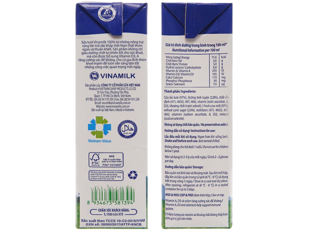 Sữa tươi tiệt trùng Vinamilk 100% Sữa Tươi ít đường hộp 1 lít 4