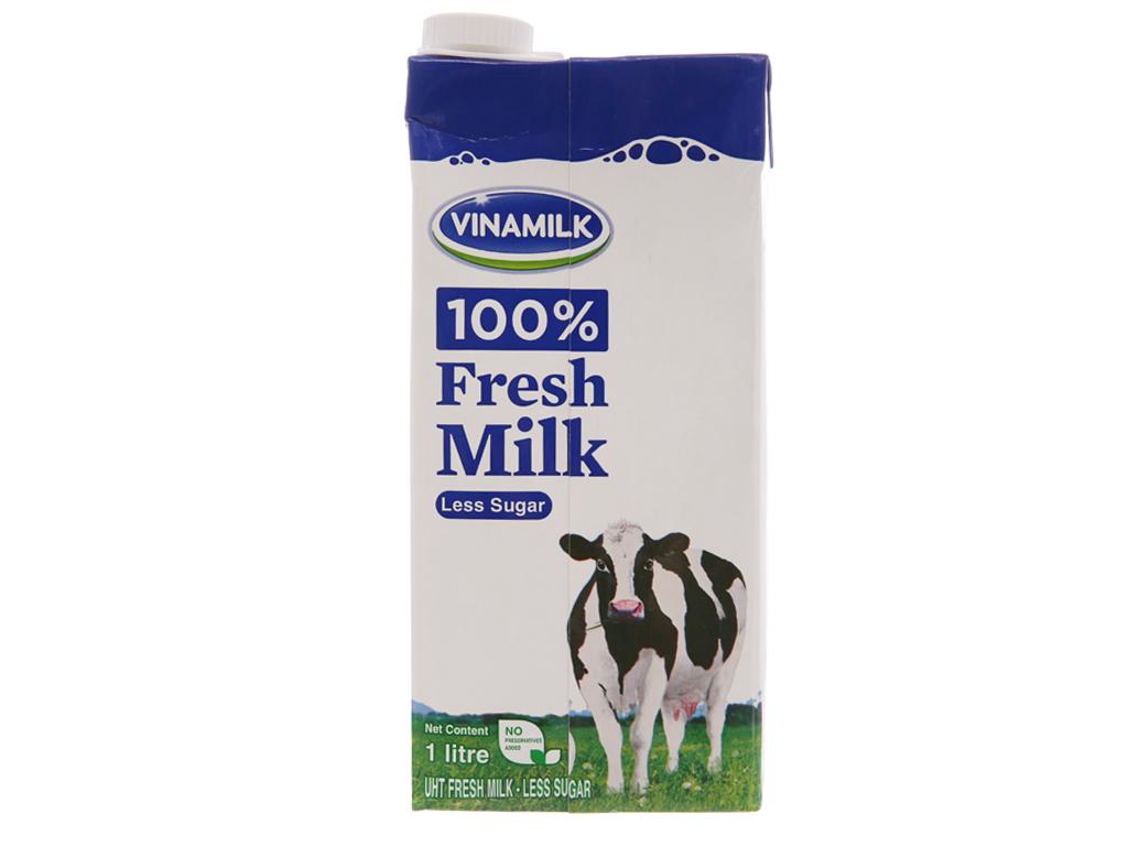 Sữa tươi tiệt trùng Vinamilk 100% Sữa Tươi ít đường hộp 1 lít 2