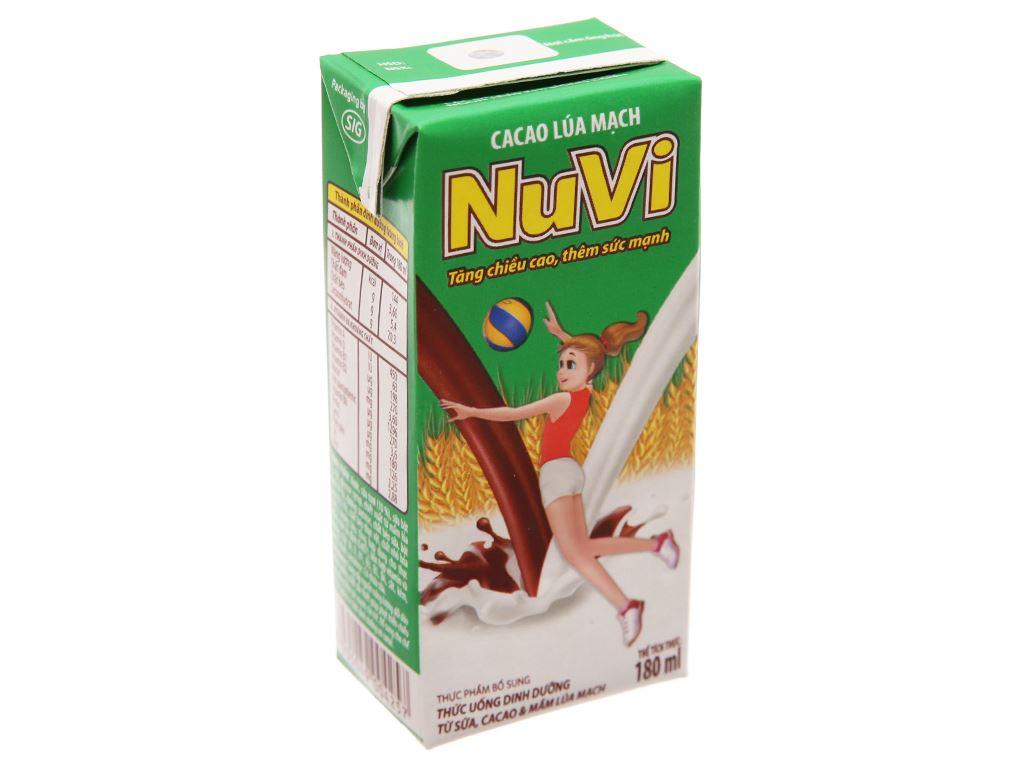 Sữa tiệt trùng NutiFood Nuvita ca cao lúa mạch hộp 180ml 2