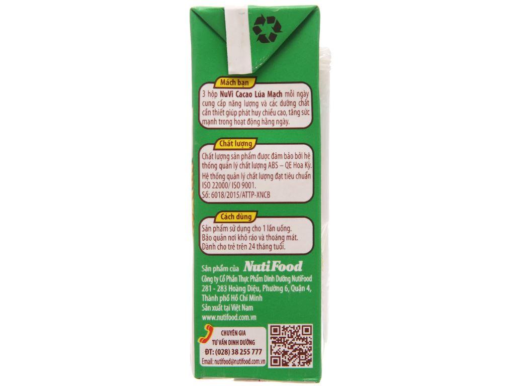 Sữa tiệt trùng NutiFood Nuvita ca cao lúa mạch hộp 180ml 4
