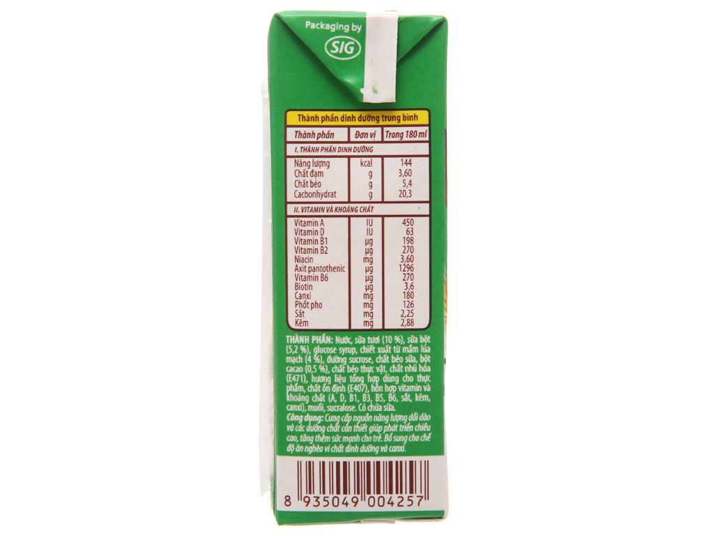 Sữa tiệt trùng NutiFood Nuvita ca cao lúa mạch hộp 180ml 5