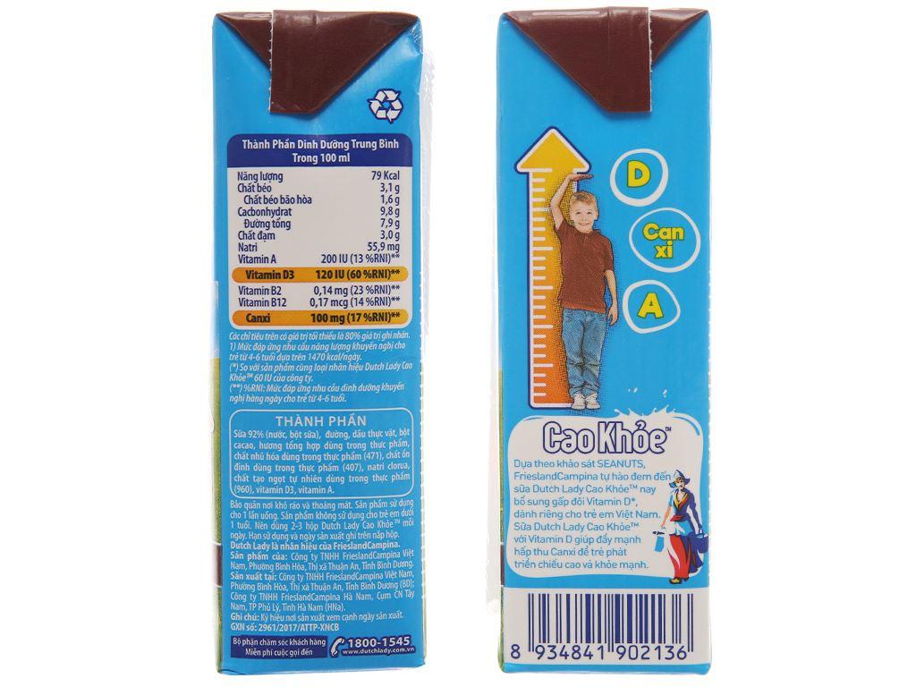Sữa tiệt trùng Dutch Lady Cao khoẻ socola hộp 170ml 5