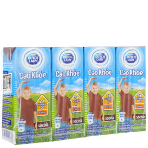 Lốc 4 hộp sữa tiệt trùng Dutch Lady Cao khoẻ sô cô la 170ml