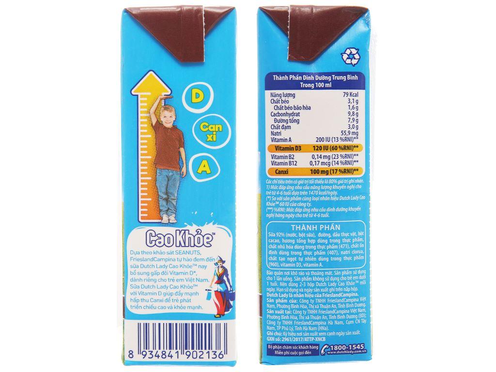Lốc 4 hộp sữa tiệt trùng Dutch Lady Cao khoẻ sô cô la 170ml 5