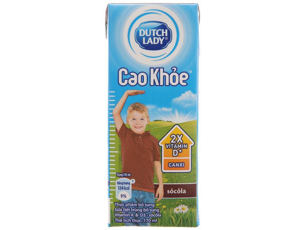Lốc 4 hộp sữa tiệt trùng Dutch Lady Cao khoẻ sô cô la 170ml 3