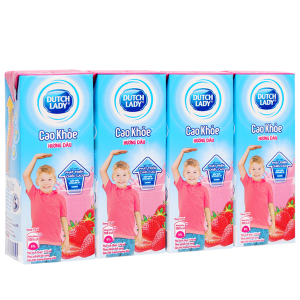Lốc 4 hộp sữa tiệt trùng hương dâu Dutch Lady Cao khoẻ 170ml