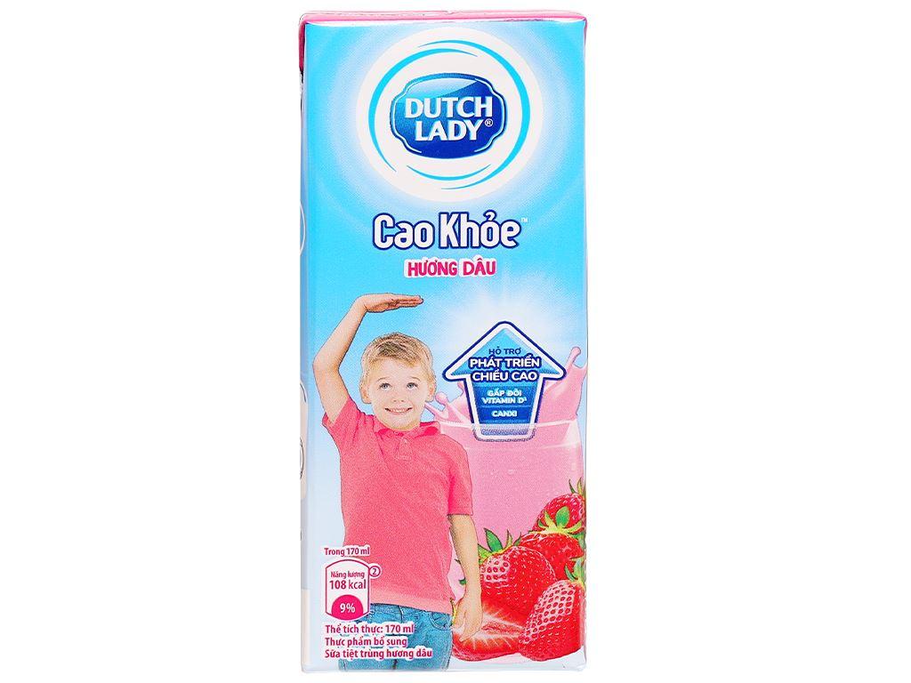 Lốc 4 hộp sữa tiệt trùng hương dâu Dutch Lady Cao Khoẻ 170ml 2