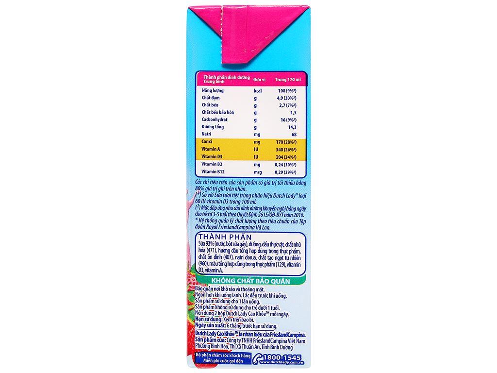 Lốc 4 hộp sữa tiệt trùng hương dâu Dutch Lady Cao Khoẻ 170ml 6