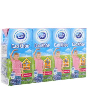 Lốc 4 hộp sữa tiệt trùng Dutch Lady Cao khoẻ hương dâu 170ml