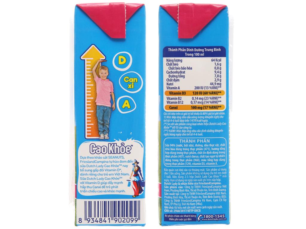 Lốc 4 hộp sữa tiệt trùng Dutch Lady Cao khoẻ hương dâu 170ml 5