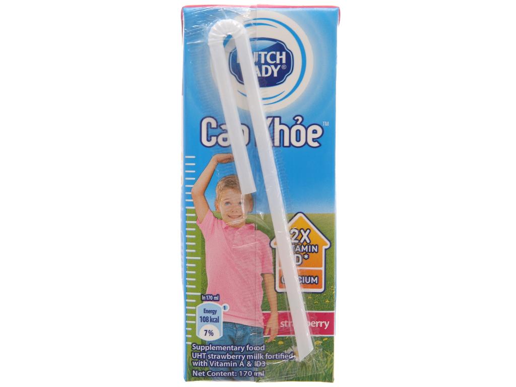 Lốc 4 hộp sữa tiệt trùng Dutch Lady Cao khoẻ hương dâu 170ml 4