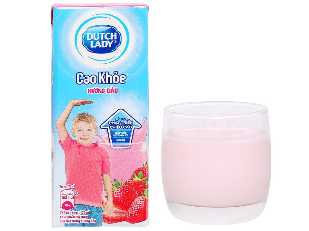 Thùng 48 hộp sữa tiệt trùng hương dâu Dutch Lady Cao Khoẻ 170ml 8
